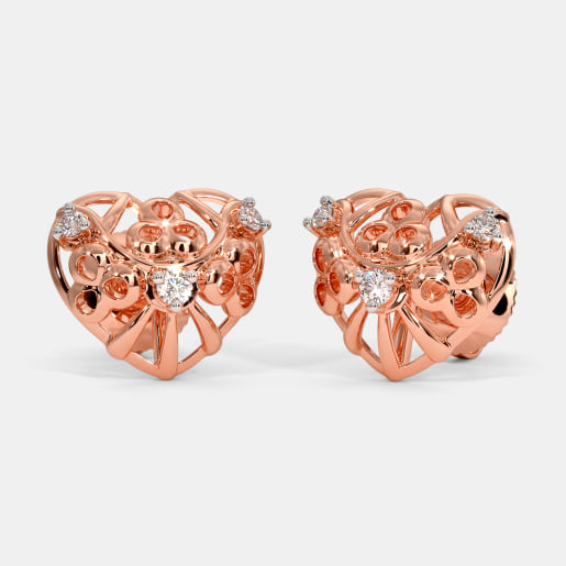 The Rosette Heart Stud Earrings
