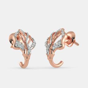 The Orane Leaf Roseate J Hoop Earrings