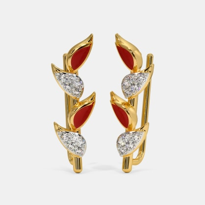The Heliconia Stricta Ear Cuffs