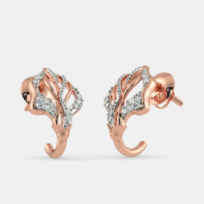 The Orane Leaf Roseate J Hoop Earrings