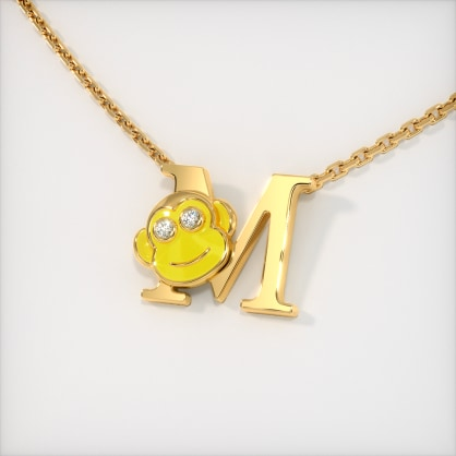 The M for Monkey Necklace for Kids