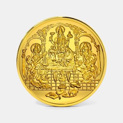 10 gram 24 KT Lakshmi Ganesh Saraswati Gold Coin